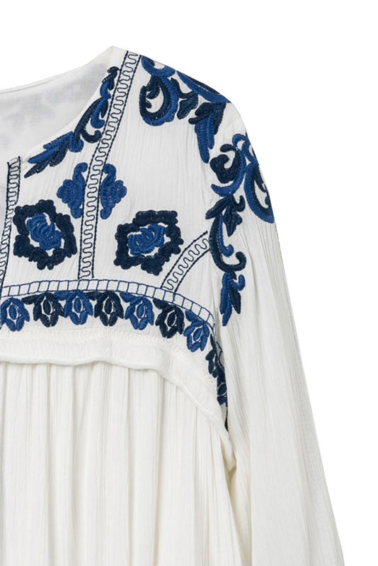 White and Blue Embroidered Cardigan