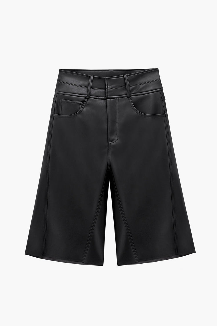 Faux Leather Knee Shorts