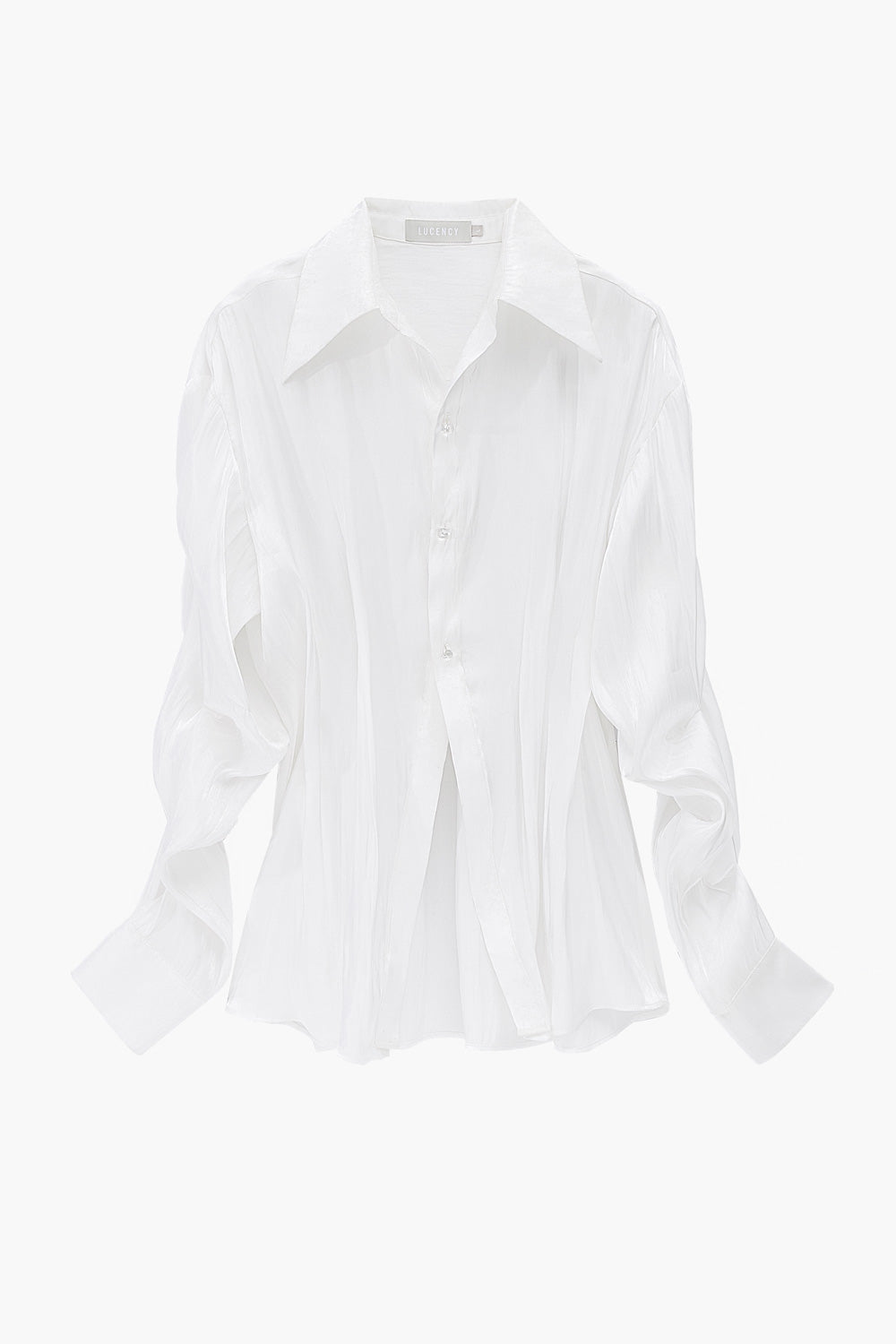 Pleated Sheer Button Shirt