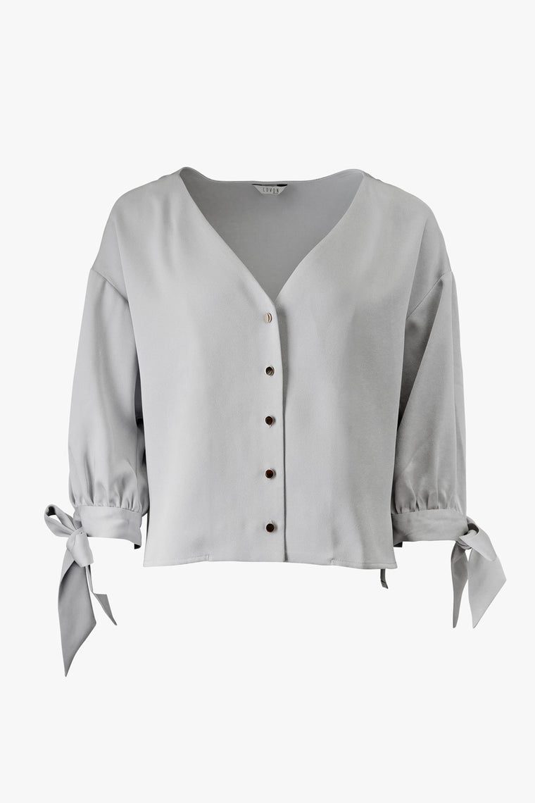 V-Neck Button Front Shirt