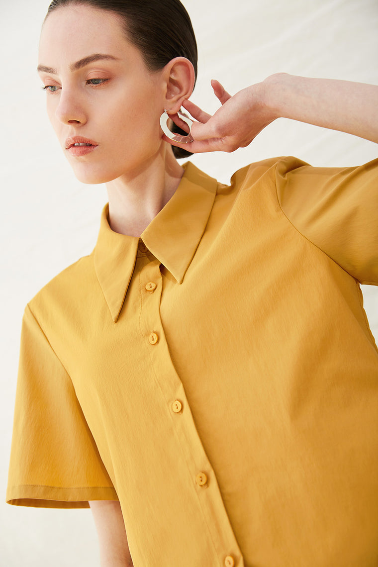 Nylon Long Point Collar Button Down Shirt