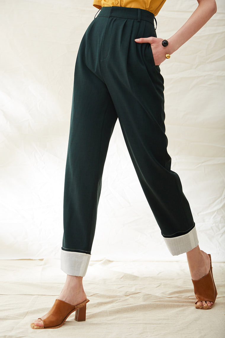 High Waist Classic Pleat Trousers
