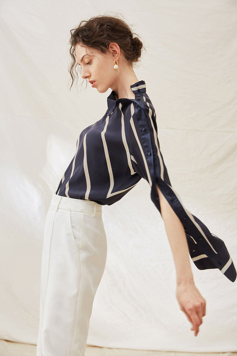 Striped Silk Button Sleeve Blouse