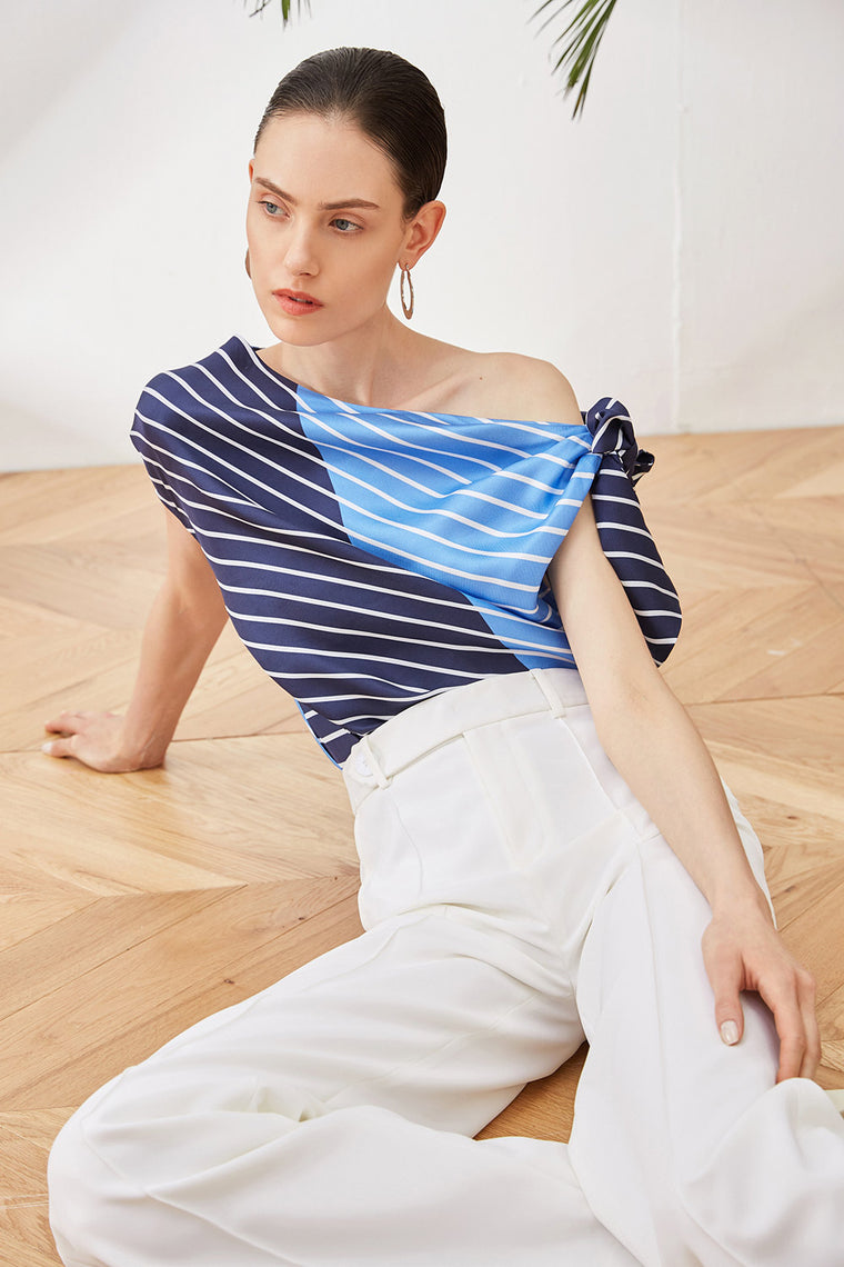Striped One Shoulder Silk Top