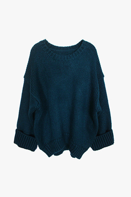 Oversized Sleeved Round Neck Knit Sweater