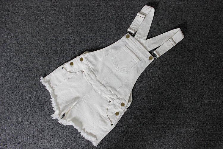 White Sleeveless Denim Overall