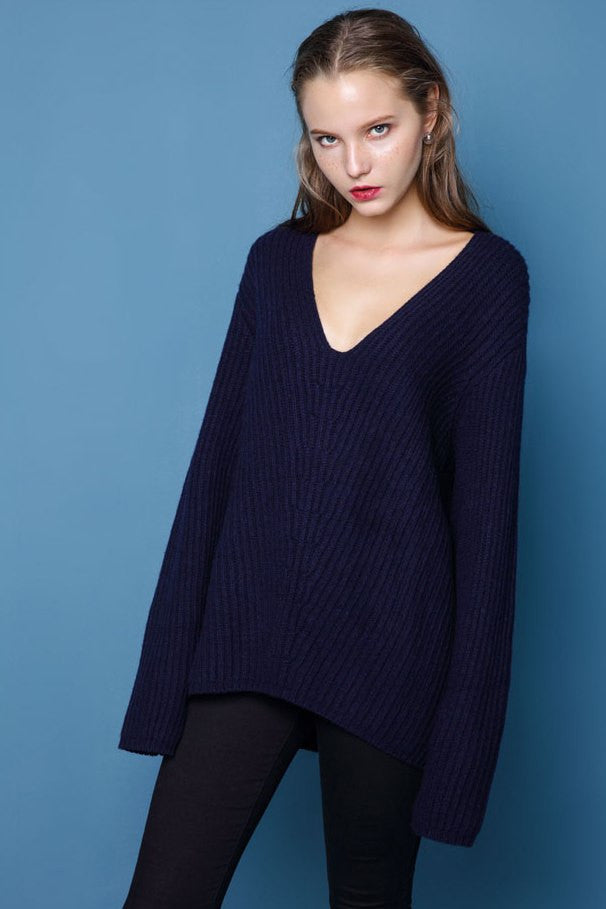 Loose V Neck Wool Sweater