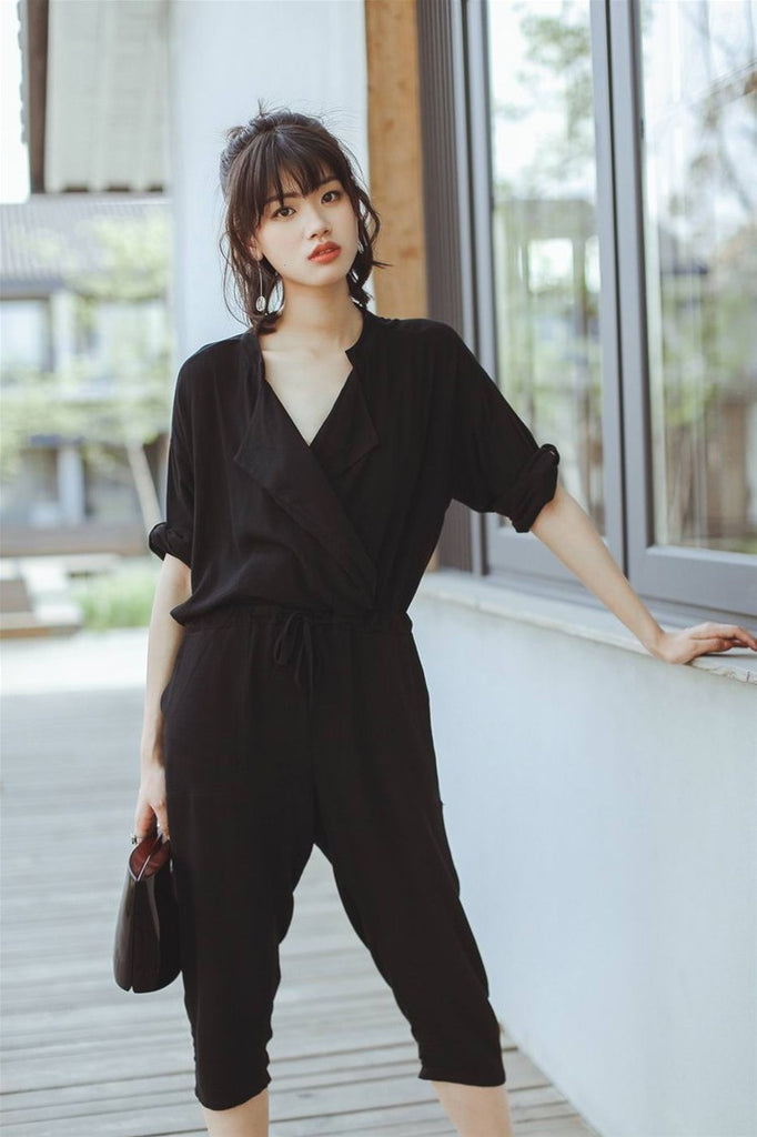 Loose V Neck Casual Jumpsuit