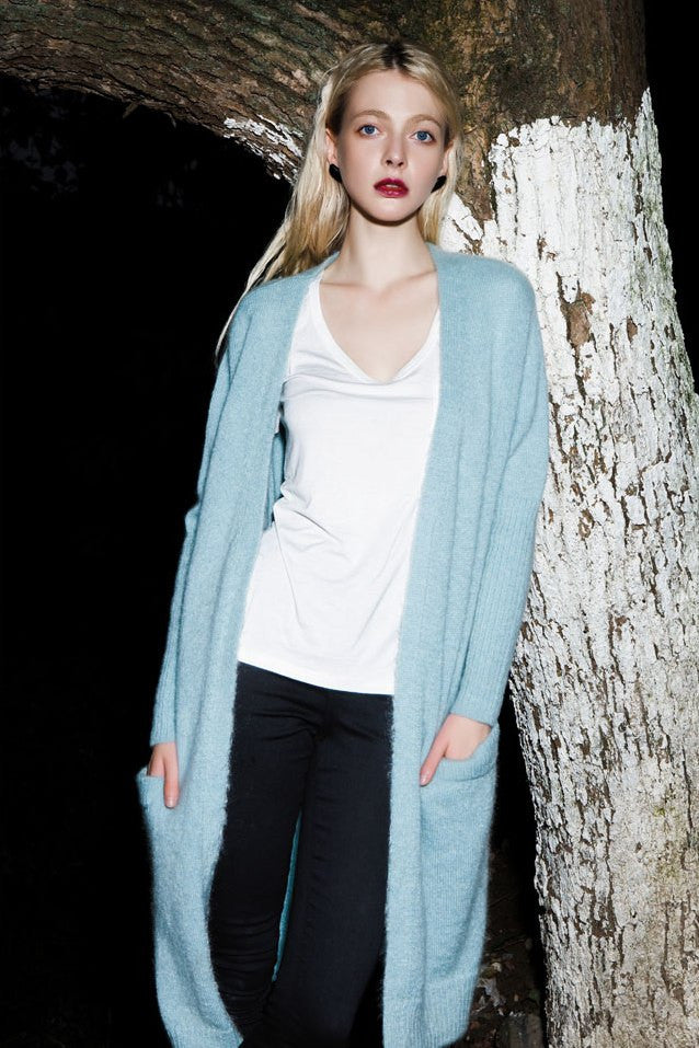 Cozy Long Knit Open Cardigan