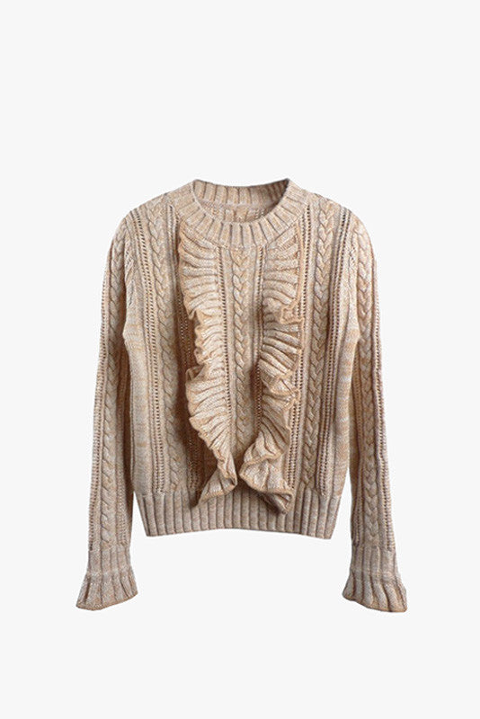 Long Sleeved Ruffle Knit Sweater Top