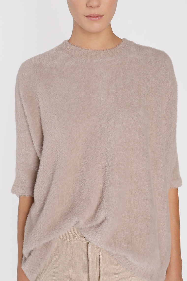 Oversized Short Sleeve Furry Top