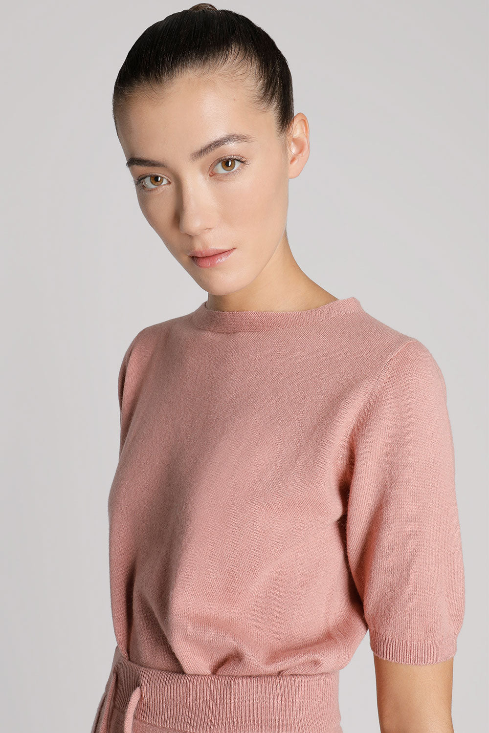 High Neck Short Sleeve Cashmere Shirt