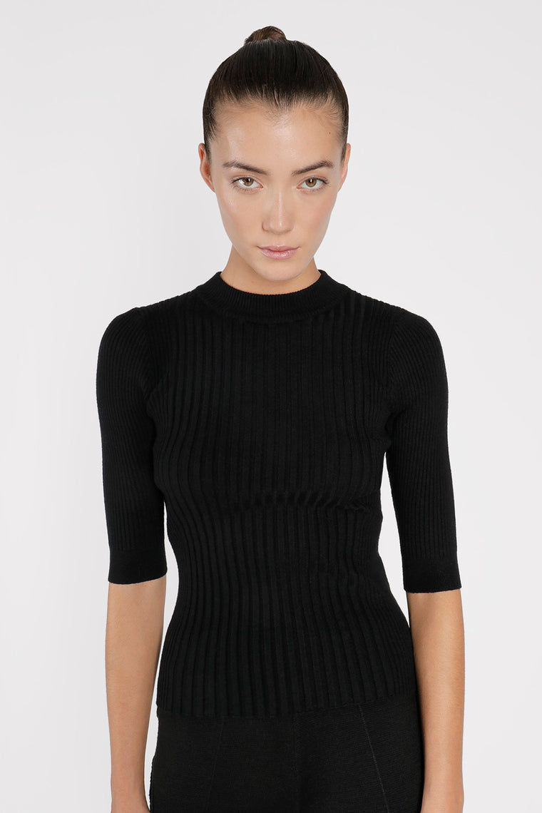 Stretch Knit Ribbed Top