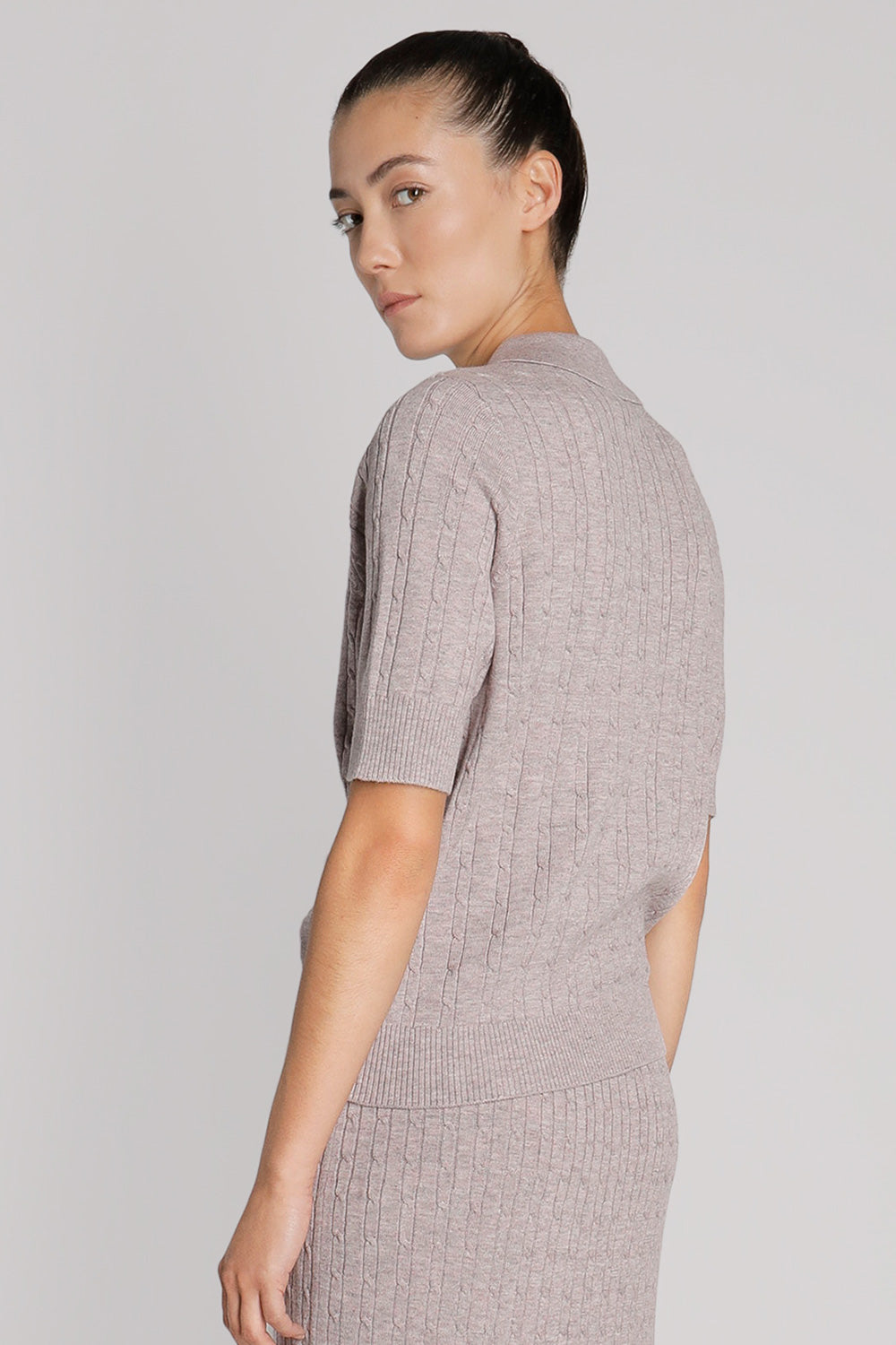 Short Sleeve Button Front Knit Shirt
