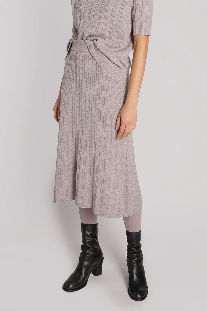 Pleated Knit Midi Skirt