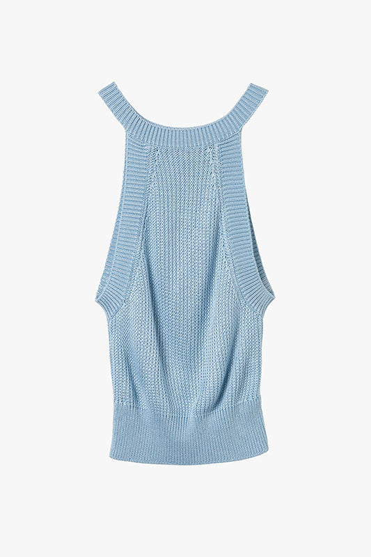 Blue Sky Sleeveless Cropped Knit Top
