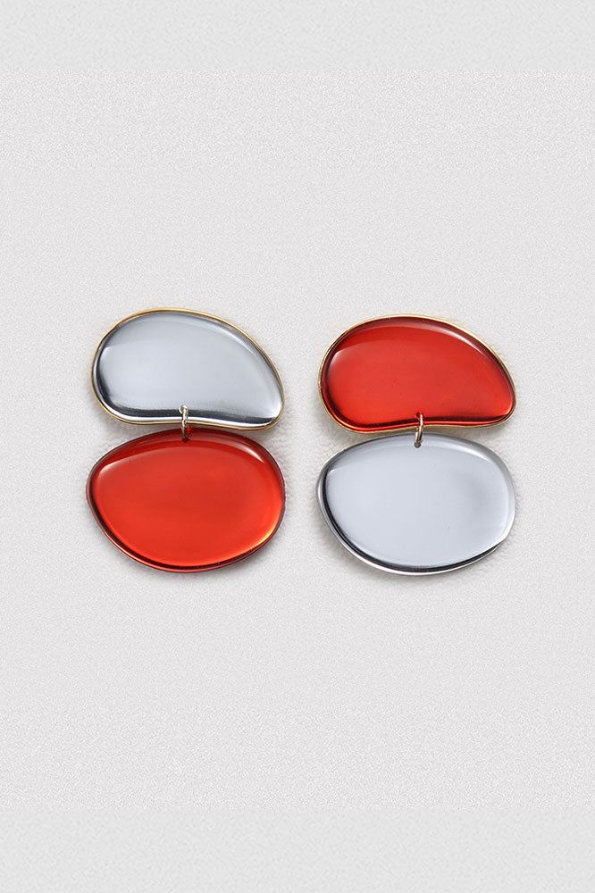 Asymmetrical Mirror Egg Earrings