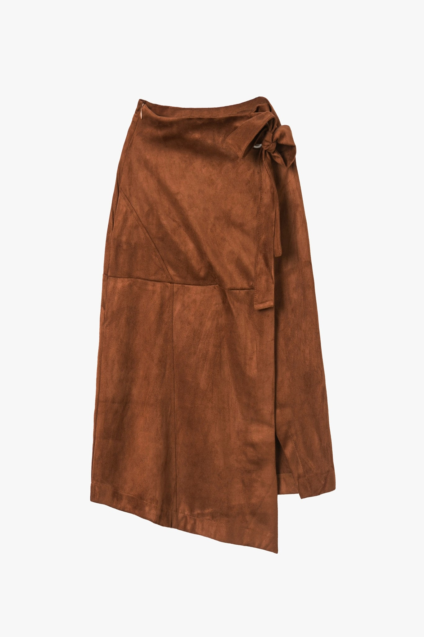 High Waist Suede Belted Wrap Midi Skirt