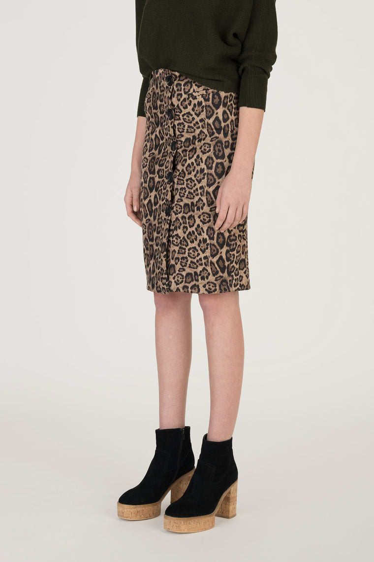 Button Front Stretch Leopard Skirt