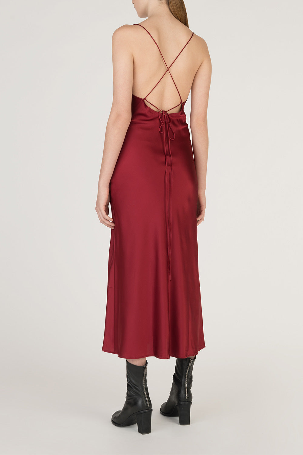 Open Back Fitted Silk Dress