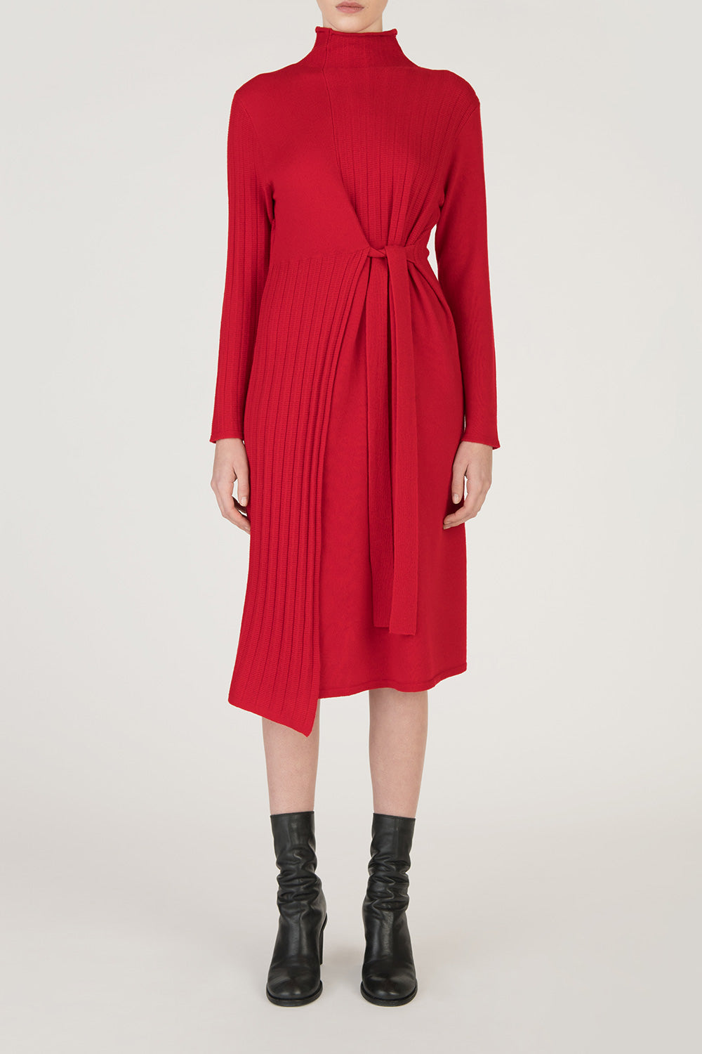 Wool Pleated Waist Wrap Dress