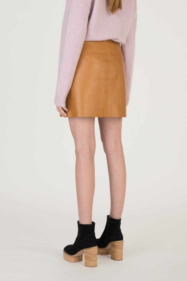 Vegan Leather Button Front Mini Skirt