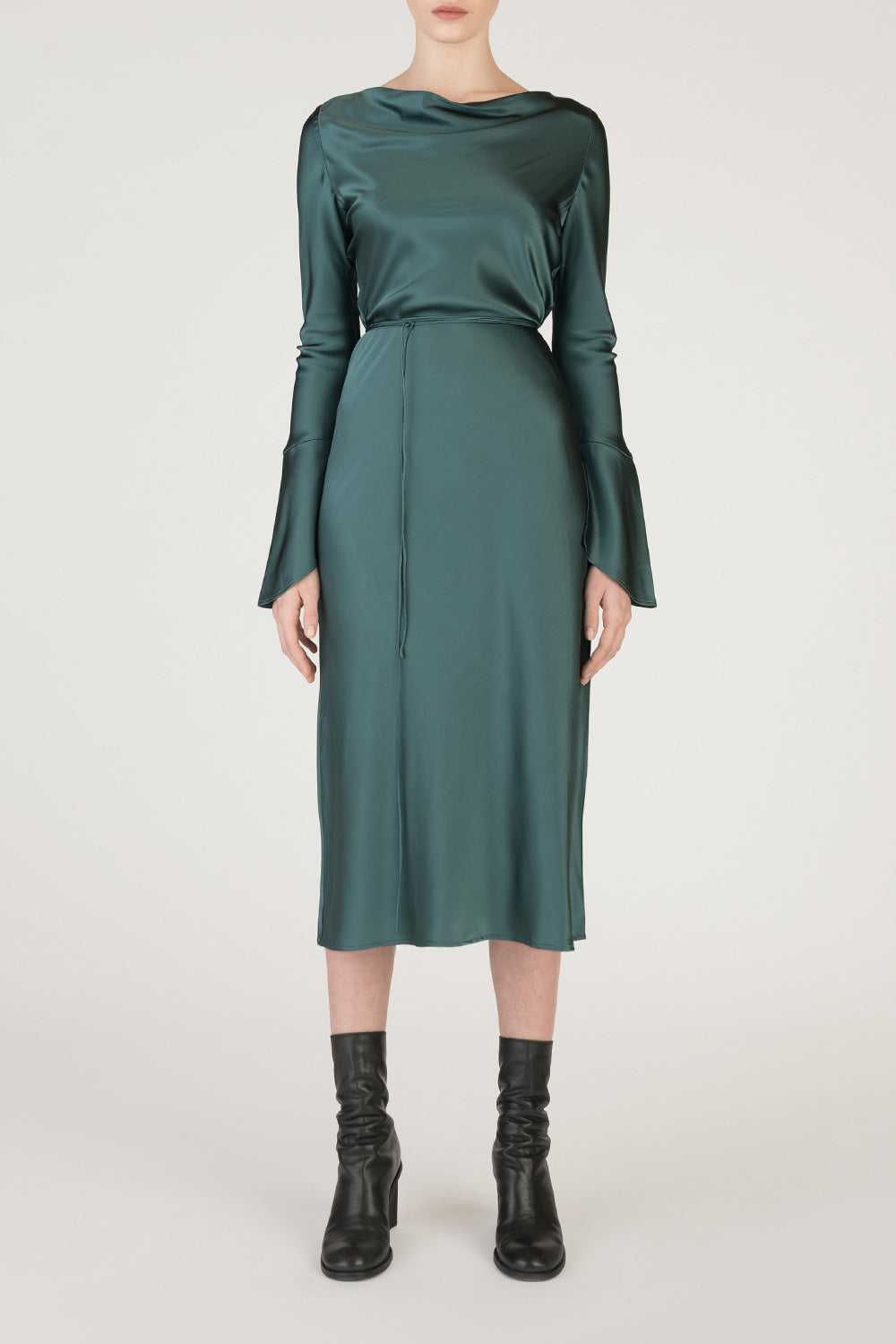 Long Sleeved Silk Dress