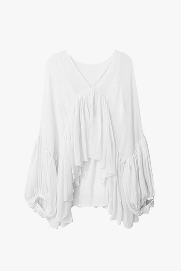 High-Low Chiffon Ruffle Blouse