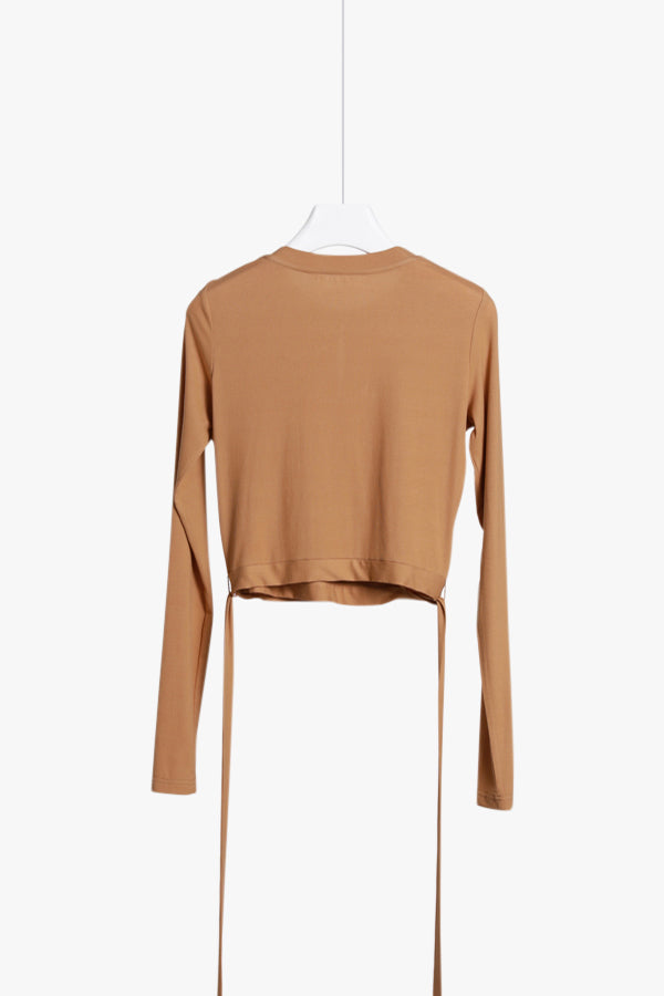Long-Sleeve Crop Wrap Shirt