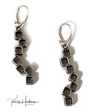 Load image into Gallery viewer, Seven stacked, hollow, sterling silver organic cubes are combined in these earrings, where some cubes are hammer textured and others are smooth.  Oxidized inside and out.