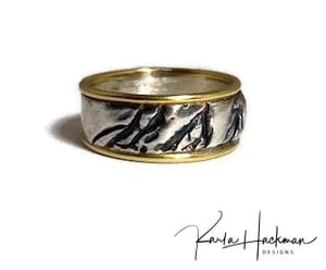 Silver and Gold Carved Ring