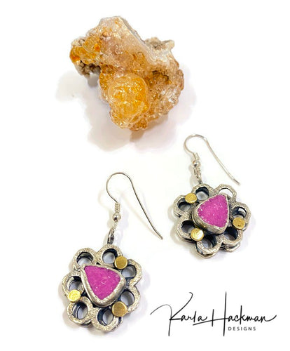 One-of-a-kind cobalto calcite triangles are bezel set, attached to our 3D honeycomb earrings, and then accented with 18 karat gold dots.  Honeycomb form is solid sterling silver and handmade from individually fabricated washer forms.