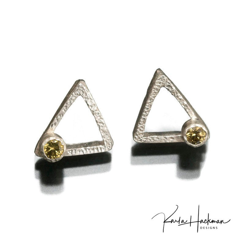 Sterling silver triangle studs are lightly textured and left with a bright finish.  Studs are adorned with 3mm gemstones, citrine, garnet or topaz.