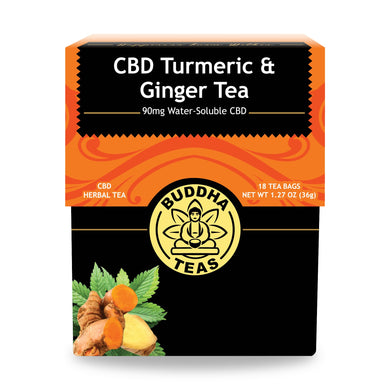 Buddha Tea - CBD Turmeric Ginger Tea (18 Tea Bags) - Grateful Produce Box