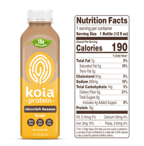 Koia Protein Chocolate Banana - 12 oz - Grateful Produce Box