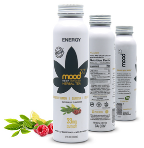 MOOD 33 Energy - Raspberry, Lemon, Guayusa, & Green Tea - 12 oz - Grateful Produce Box