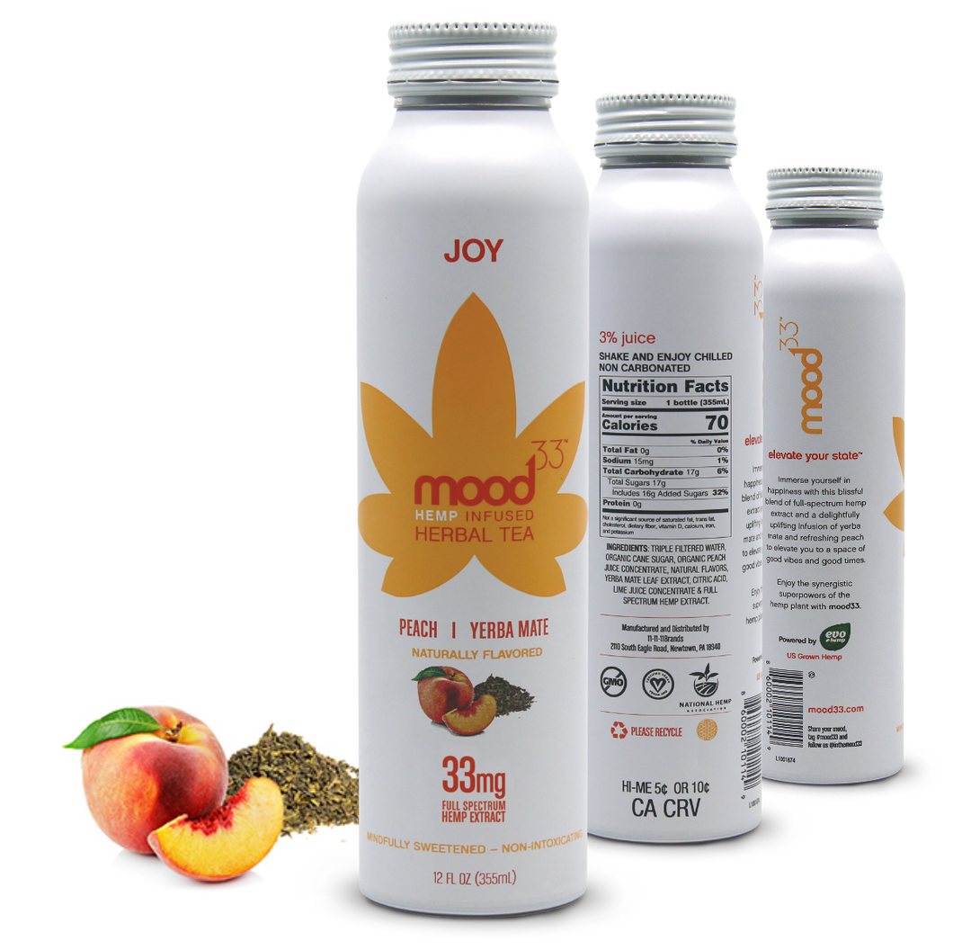 MOOD 33 Joy - Peach & Yerba Mate - 12 oz - Grateful Produce Box