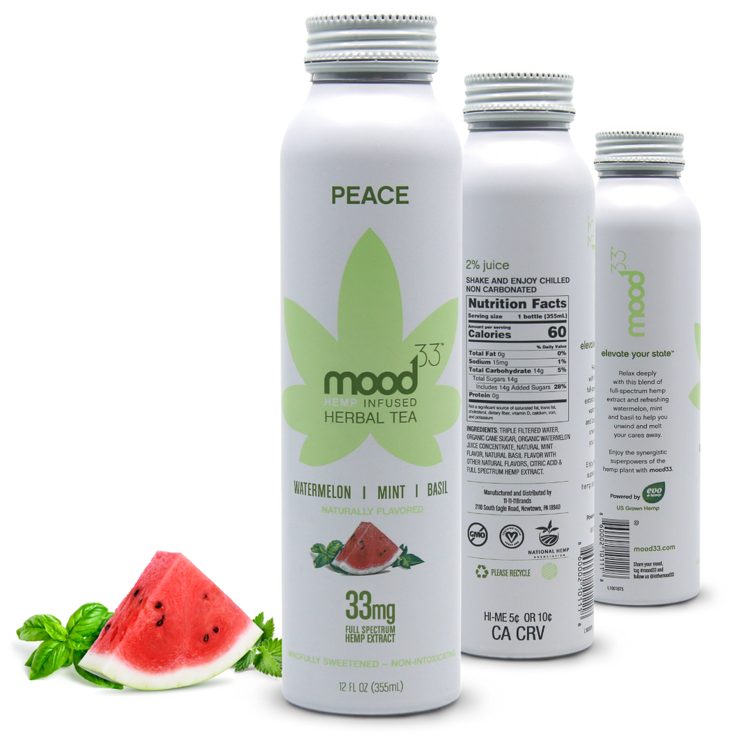 MOOD 33 Peace - Watermelon, Mint, Basil - 12 oz - Grateful Produce Box
