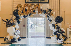 Graduation Themed Organic Balloon Arch (Extra Lush)