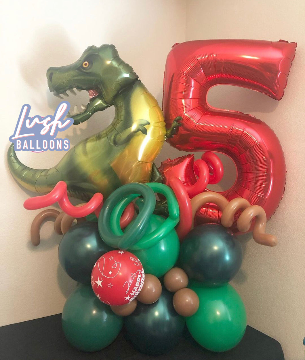 Green T-Rex Dino Balloon Bouquet 🦖