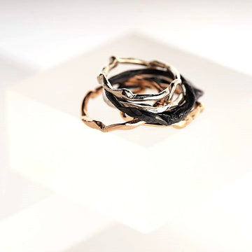 Vu Jewellery - Get Knotted Oxidised Silver Ring