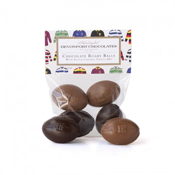 Devonport Chocolates - Chocolate Rugby Balls, Salted Caramel Bag of 4