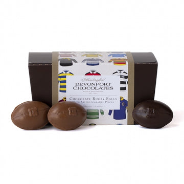 Devonport Chocolates - Chocolate Rugby Balls, Salted Caramel Box of 8