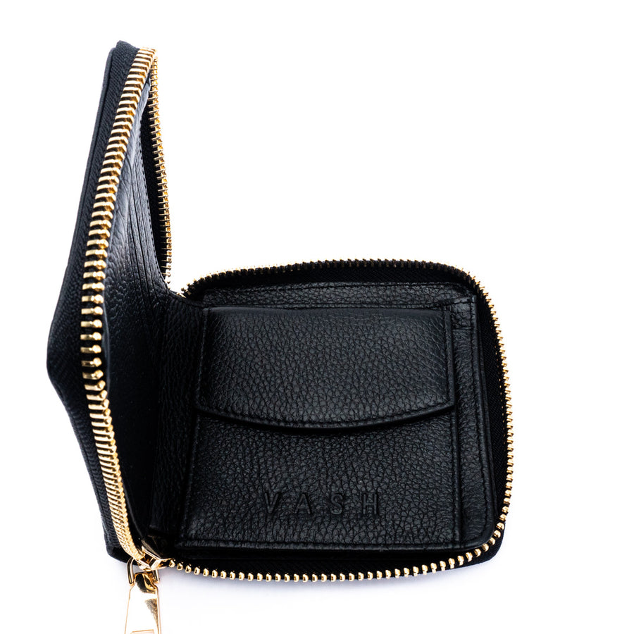 Vash - Atlas Zip Wallet in Black Bubble Leather