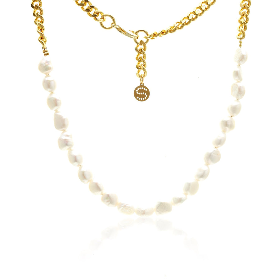 Silk & Steel Always Yours Necklace - Pearl + Gold