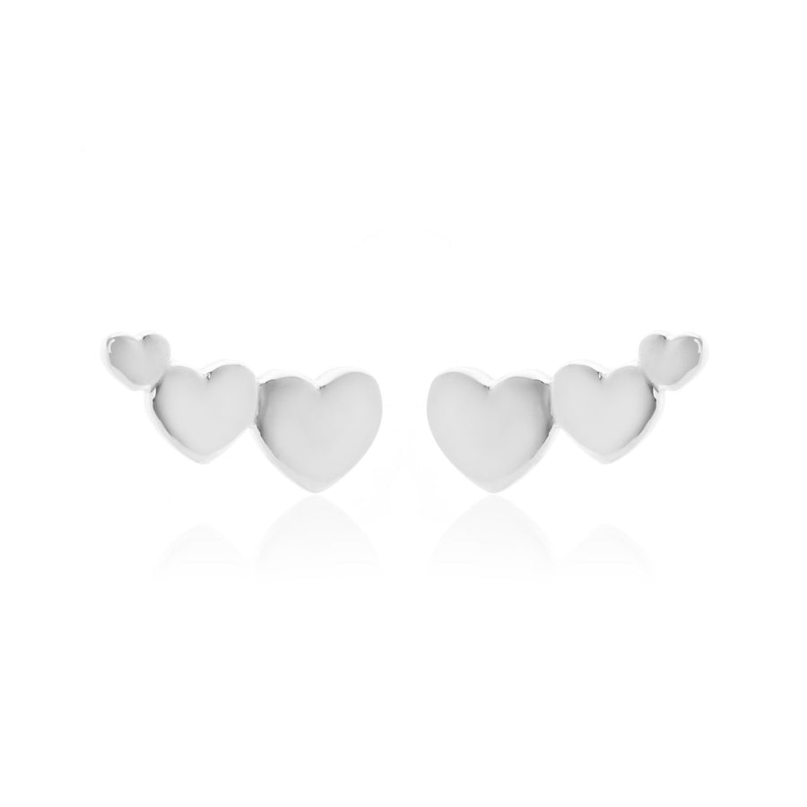 Silk & Steel Superfine Earrings - Sweetheart Climber Silver