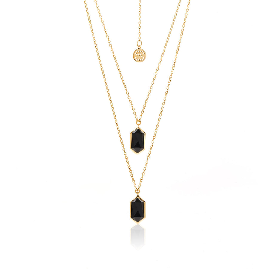 Silk & Steel Haveli Necklace - Black Spinel + Gold