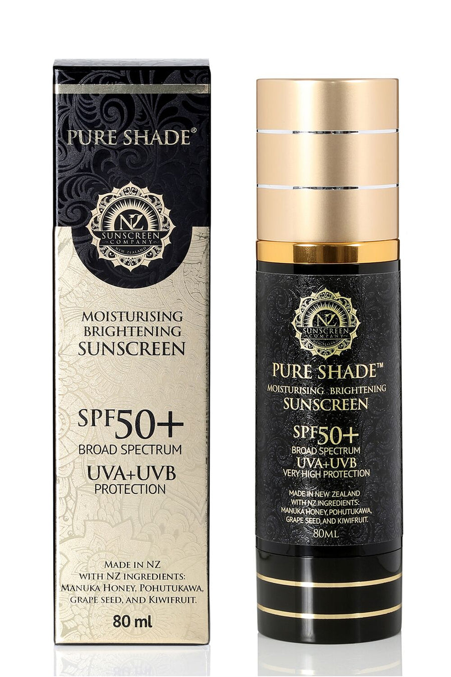 NZ Sunscreen Pure Shade SPF50+ Moisturising & Sunscreen 80ml Airless Pump