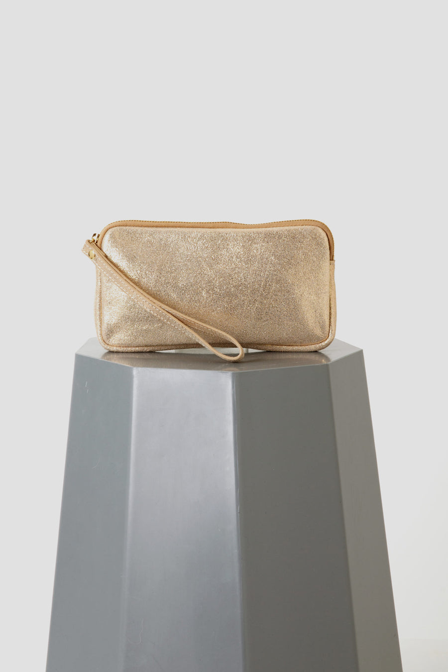 Vash - Palma Zip Pouch in Gold Leather
