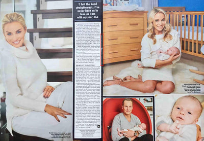 Hello! Magazine: Noelle Reno introduces baby Xander – in Blue Almonds cashmere